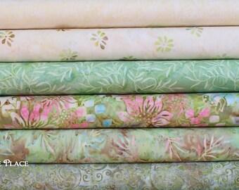 Green glen colors Batiks 6 FAT QUARTER bundle ..by Batik Textiles Celestial Blossoms and Batik blenders