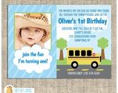 Wheels on the School Bus Birthday Birthday Party Invitation, JPG Printable or PDF Printable Digital File