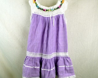 Beautiful Girls Hippie Gauzy Crochet Cotton Lace Floral Summer Dress
