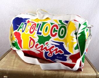Vintage Poco Loco Club Canvas Gym Bag Duffel Bag Weekender