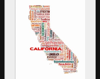 California Typography Map Poster Print Color 2
