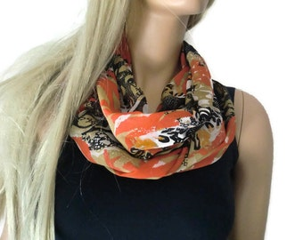 Seville Chiffon infinity scarf,Coral,black,white and beige abstract print chiffon infinity Scarf/ cowl Instant gratification