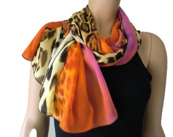 Sunset safari Extra long chiffon scarf/Blond leopard/ animal print and sunset orange and pink,Parisian Neck Tissu
