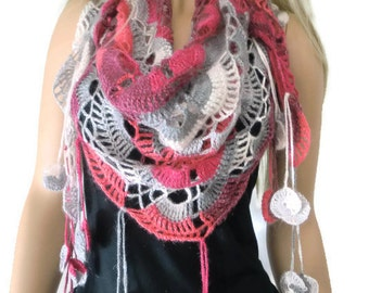 Bohemian crochet scarf -Rose wine, gray and white-Crochet lace scarf with fringes-Handmade-Introductory price