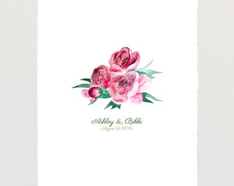 Watercolor Peony Guest Book art print - Guest book Birthday Baby shower Wedding gift print - PEONIES painting
