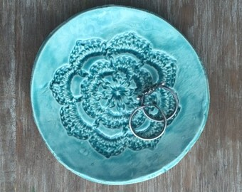 Small Turquoise Lace Dish