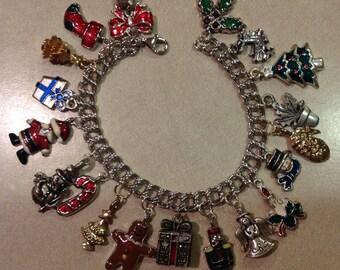 Upcycled Christmas Silver Charm Bracelet