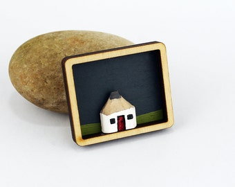 Brooch. Wooden Laser Cut Brooch with Miniature Pencil Cottage. Ready to ship