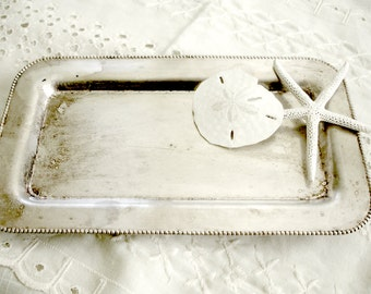 Siver Plate Tray Footed Rectangle  Small Silverplate Vanity  Shabby Cottage Chic