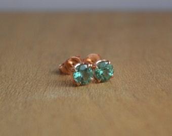 5mm Indicolite Tourmaline Stud Earrings in 14K Rose Gold Scroll Settings