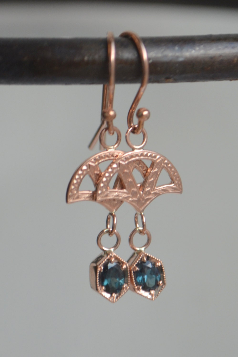 rose gold hexagon dangly earrings fan earrings rose gold