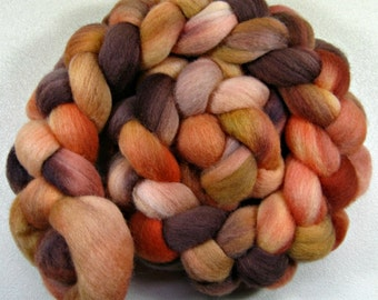 Apricot Cinder 1 Falkland wool top for spinning and felting (4.2 ounces)