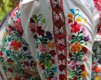 White with Multi colored long sleeved embroidery Mexican Wedding dress Deshilado