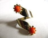 Vintage 70s Style Cocktail Split Ring, Gold and Coral, Adjustable Size