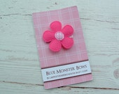 ONE DOLLAR CLIP Bright Pink Flower with Gingham Center Baby Snap Clip Baby Bow