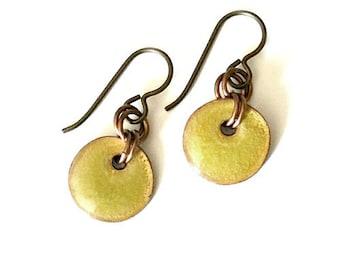 Copper Enamel Earrings - Chartreuse