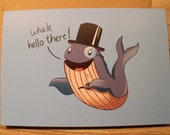 Whale Hello There A5 Greetings Card.