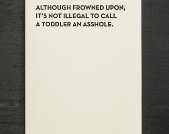 toddler. letterpress card. #914