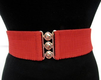 Vintage Red Elastic Wide Cinch Belt L