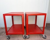 "Vintage Industrial Cart Utility Table Rolling Metal Casters Red 26"" Tall"