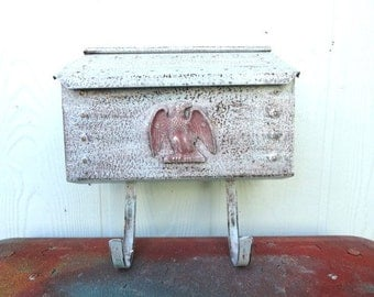 Vintage Mail Box Weathered White Architectural Hobnail Mailbox with Eagle Accent Wall Mount