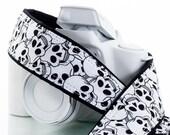 Skull dSLR Camera Strap, Pocket, Black, White,  Dia de los Muertos, Day of the Dead, Canon or Nikon Strap, Camera Neck Strap, SLR, 113