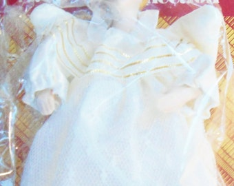 Vintage Avon Christmas Victorian Angel Ornament, Porcelain Head, Hands, Face w/Box