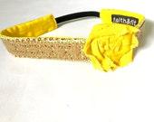 Workout Headband, Running Headband, Fitness Headband, Vintage, Boho, Headband Yellow Lacey Rose Wrap