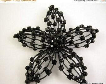 30% Off Sale Huge 1950s Black Rhinestone Flower Brooch