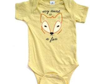 Apericots My Aunt is a Fox Funny Cute Unisex Short Sleeve Baby Bodysuit