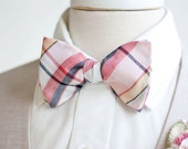 Bow Ties, Bow Tie, Bowties, Mens Bow Ties, Freestyle Bow Ties, Self-Tie Bow Ties, Groomsmen Bow Ties - Coral/Blush/Navy Organic Madras Plaid
