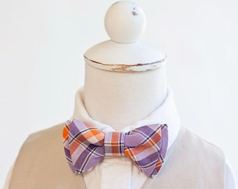 Bow Tie, Purple and Orange Organic Madras Plaid , Bow Ties, Boys Bow Ties, Baby Bow Ties, Bowtie, Bowties, Ring Bearer, Bow ties For Boys