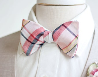 Bow Ties, Bow Tie, Bowties, Mens Bow Ties, Freestyle Bow Ties, Self-Tie Bow Ties, Groomsmen Bow Ties - Coral/Blush/Navy Organic Madras Plaid