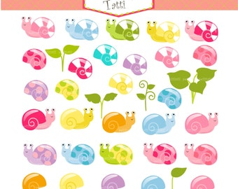 ON SALE snails clip art - cute snail clip art,summer bugs clip art, garden snail clip art, instant download Digital clip art, Leaf Clip Art