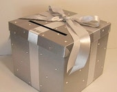 Wedding Card Box Silver  Gift Card Box Money Box  Holder--Customize in your color/made to order (10x10x9)