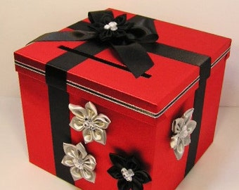 Wedding Card Box Red and Black/Silver Gift Card Box Money Box  Holder--Customize your color