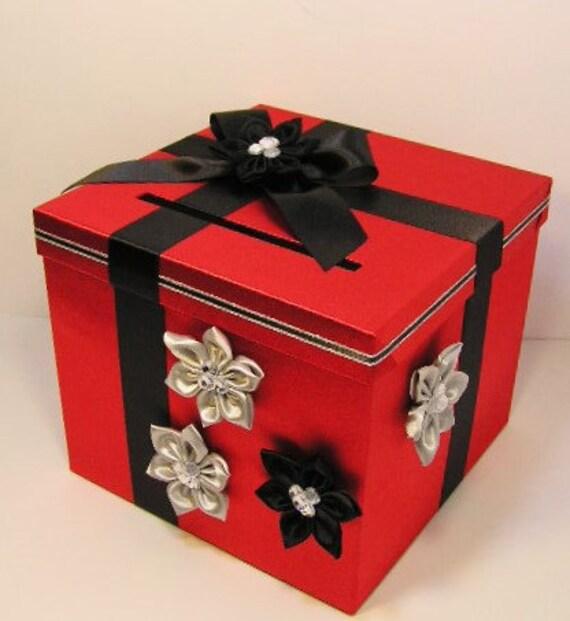 Wedding Card Box Red and BlackSilver Gift Card Box Money Box