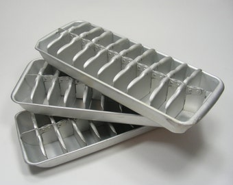 Metal Ice Cube Trays Trio of vintage freezer trays