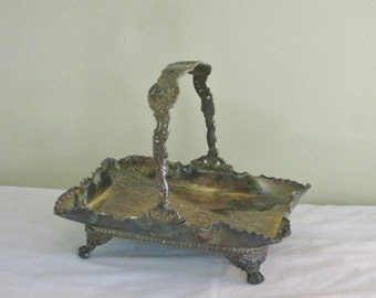 Antique Victorian Quadruple Plate Silver Brides Basket with Swing Handle Footed, Ornate Collectible Repousse Centerpiece