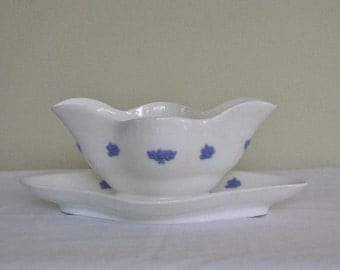 Antique Adderley Chelsea  Gravy Boat, Raised Blue Purple Cluster Flowers White China Body, Attached Underplate, Two Spouts Replacement Dish