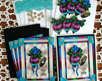 Hand Made Stain Glass Window look, Bell, Ball & Holly Holiday Card Kit - 4 cards