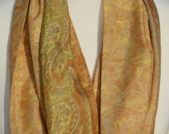 Cream, Beige & Tan Sari Infinity Scarf - Eternity Scarf - Boho Chic - Loop Scarf -Unique Gift - Bohemian Style