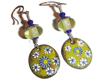 Lemon and Lime Earrings Enamel Earring Artisan Boho