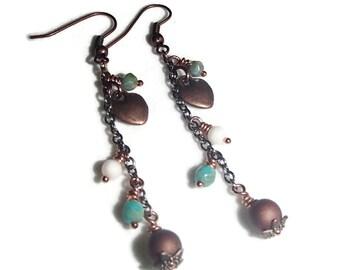 Long Chain Boho Earrings Heart Chain Earrings