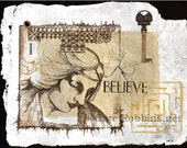 Believe -Etching and Collage on Handmade Paper
