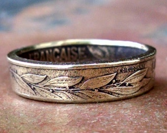 French 20 Centimes Coin Ring - France Coin Ring 1968 - Size: 8