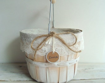 Wooden flower girl pail. personalized basket . shabby chic basket whitewash with ivory lace . country wedding . rustic wedding