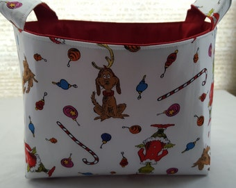 Fabric Organizer Basket Storage Bin Container Fabric  - Grinch Stole Christmas Red