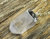 Valentine SALE - Crystal Necklace, Crystal Pendant Necklace, Crystal Point Necklace, Raw Clear Crystal Point, Silver Necklace, Sterling S...