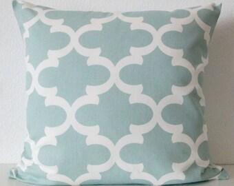 Blue geometric accent pillow cover - Soft blue quatrefoil pillow cover